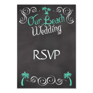 Chalkboard Teal Beach Wedding Matching RSVP Reply Card