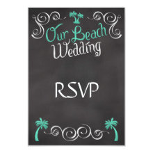 Chalkboard Teal Beach Wedding Matching RSVP Reply 3.5x5 Paper Invitation Card