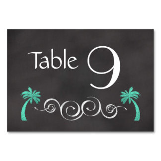 Chalkboard Teal Beach Wedding Table Number Card