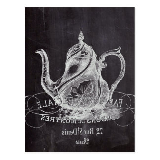 Chalkboard teapot Alice in Wonderland tea party Postcard