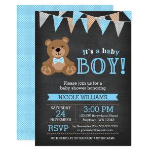 Chalkboard Teddy Bear Boy Baby Shower Invitation