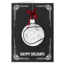 chalkboard tennis player Christmas Cards