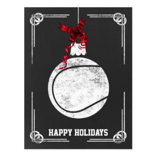 chalkboard tennis player Christmas Cards Postcard