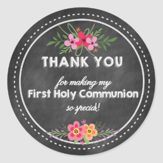 Chalkboard Thank you tag- First Holy communion Classic Round Sticker