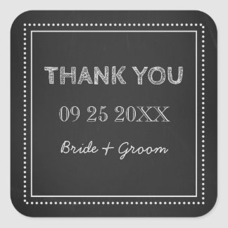 Chalkboard Thank You Wedding Favor Tags Square Sticker