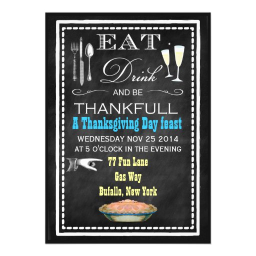 Chalkboard Thanksgiving Dinner Party Invitations