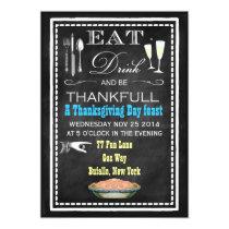 Chalkboard Thanksgiving Dinner Party Invitations