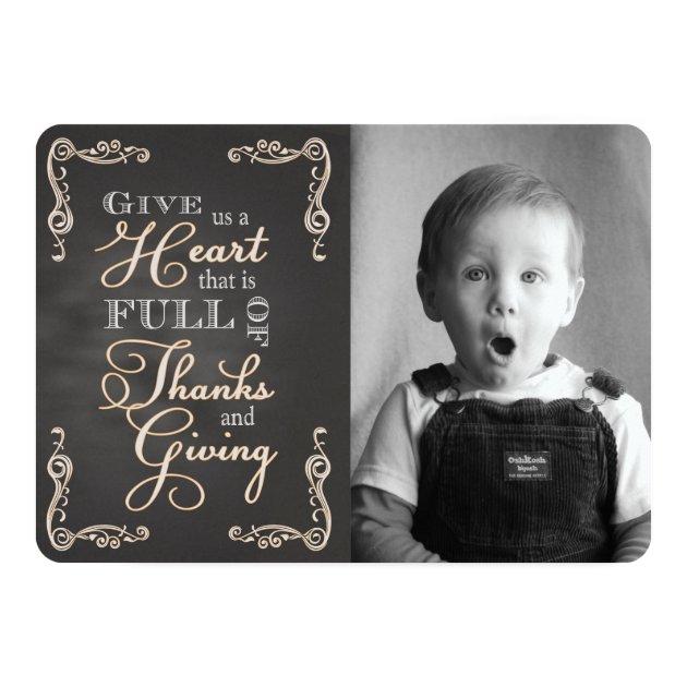 Chalkboard Thanksgiving - Give Us a Heart custom p Card