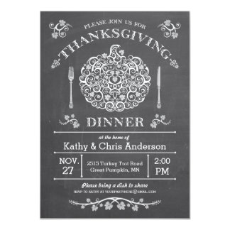 Chalkboard Thanksgiving Pumpkin Invitation III