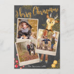 """Chalkboard Three Photo Collage Christmas Holiday<br><div class=""""desc"""">Beautiful trendy chalkboard style triple instant-photo frames festive greeting cards with fun adornments and personalized text and photos. Add three of your own precious photos, all your names on back and the family name on front with the current year and you're good to go! A cute chalkboard background with scattered...</div>"""