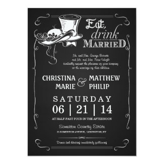 Chalkboard Top Hat Wedding Invitations