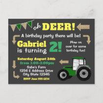 Chalkboard Tractor Invite, Birthday Tractor Invitation Postcard