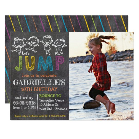 Chalkboard Trampoline Party Birthday Invitation