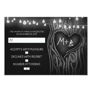Chalkboard tree elegant wedding RSVP card