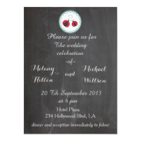 Chalkboard trendy cute ladybugs in love wedding card (<em>$2.57</em>)