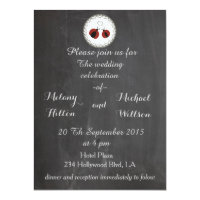 Chalkboard trendy cute ladybugs in love wedding 5.5x7.5 paper invitation card (<em>$2.57</em>)