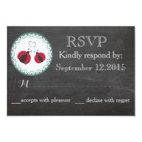 Chalkboard trendy ladybugs in love wedding RSPV Card (<em>$1.96</em>)
