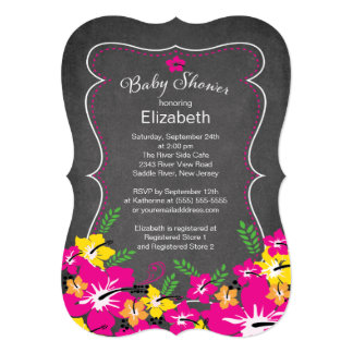 Chalkboard Tropical Hibiscus Flowers Baby Shower 5x7 Paper Invitation Card