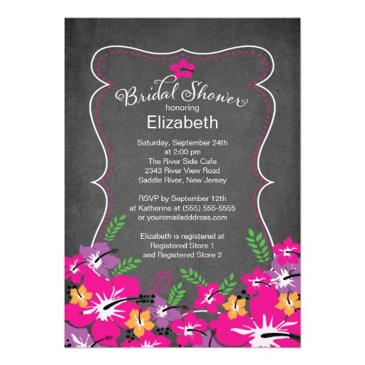 Chalkboard Tropical Hibiscus Flowers Bridal Shower Personalized Invitation