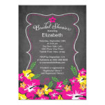 Chalkboard Tropical Hibiscus Flowers Bridal Shower Custom Invitation