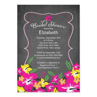 Chalkboard Tropical Hibiscus Flowers Bridal Shower 5x7 Paper Invitation Card