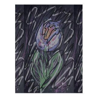 Chalkboard tulip doodle postcard