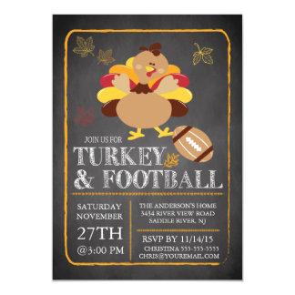 Chalkboard Turkey Football Thanksgiving Invitation