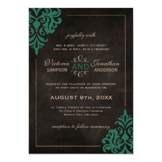Chalkboard Turquoise Damask Wedding Invitations
