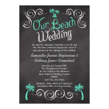 Chalkboard Turquoise Palm Tree Beach Wedding 5x7 Paper Invitation Card