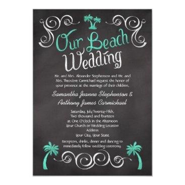 Beach Themed Chalkboard Turquoise Palm Tree Beach Wedding Card