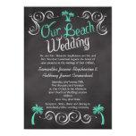 "Chalkboard Turquoise Palm Tree Beach Wedding 5"" X 7"" Invitation Card"