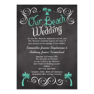 Chalkboard Turquoise Palm Tree Beach Wedding 5x7 Paper Invitation Card