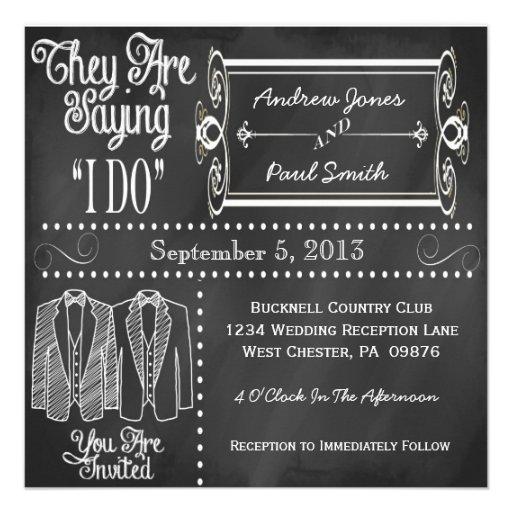 Chalkboard Tuxedo Gay Wedding Invitations