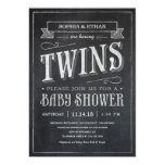 Chalkboard Twin Baby Shower Invitations