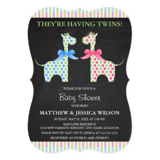 Chalkboard Twin Boy and Girl Giraffe Baby Shower Card