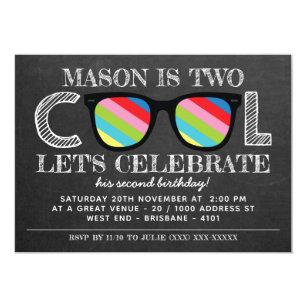 Chalkboard Two Cool Years Old Birthday Invitation