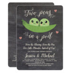Chalkboard Two Peas In A Pod Twins Baby Shower Invitation