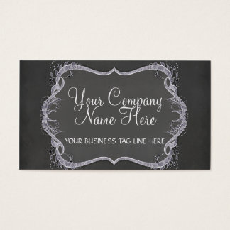 Chalkboard Typographic Leaf Swirl Modern Business Business Card
