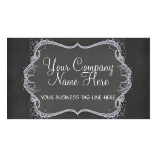 Chalkboard Typographic Leaf Swirl Modern Business Double-Sided Standard Business Cards (Pack Of 100)