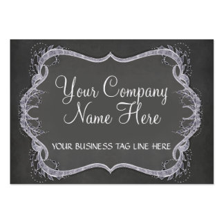 Chalkboard Typographic Leaf Swirl Modern Business Large Business Card