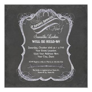Chalkboard Typographic Leaf Swirl Rustic Wedding Card