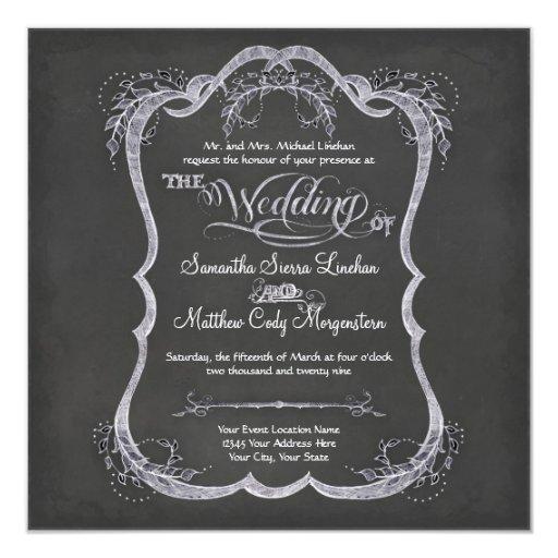 "Chalkboard Typographic Leaf Swirl Rustic Wedding 5.25"" Square Invitation Card"
