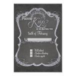"""Chalkboard Typographic Leaf Swirl Rustic Wedding 3.5"""" X 5"""" Invitation Card"""
