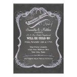 Chalkboard Typographic Leaf Swirl Rustic Wedding Personalized Announcements