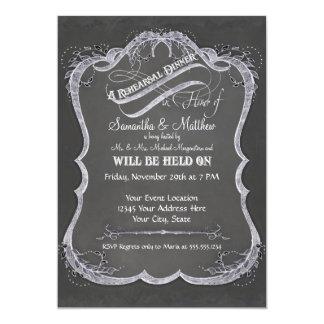 """Chalkboard Typographic Leaf Swirl Rustic Wedding 5"""" X 7"""" Invitation Card"""