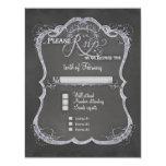 """Chalkboard Typographic Leaf Swirl Rustic Wedding 4.25"""" X 5.5"""" Invitation Card"""