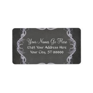Chalkboard Typographic Leaf Swirl Rustic Wedding Address Label