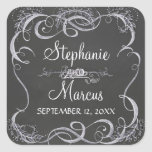 """Chalkboard Typographic Leaf Swirl Rustic Wedding Square Sticker<br><div class=""""desc"""">COLOR PALETTE: Black, white and grey tones. DESIGN COLLECTION: These are matching favor gift tag, bag or invitation envelope seals or stickers that are perfect to use for a bridal shower, wedding reception or to seal your invite envelopes with. This modern typography chalkboard style wedding invitation set design was created...</div>"""