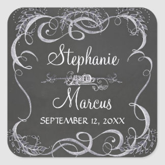 Chalkboard Typographic Leaf Swirl Rustic Wedding Square Sticker