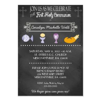 Chalkboard Typography 1st Communion Invitation